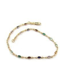 9CT Gold Filled Multicolor Gemstone Anklet B5