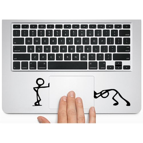 Herngee Cute Matchman-Pushing and Standing Silhouette Decal Macbook