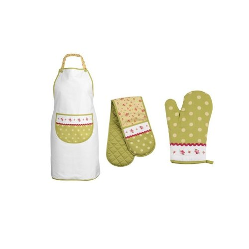 Rose Cottage Oven Gloves and Apron - Set Of 3