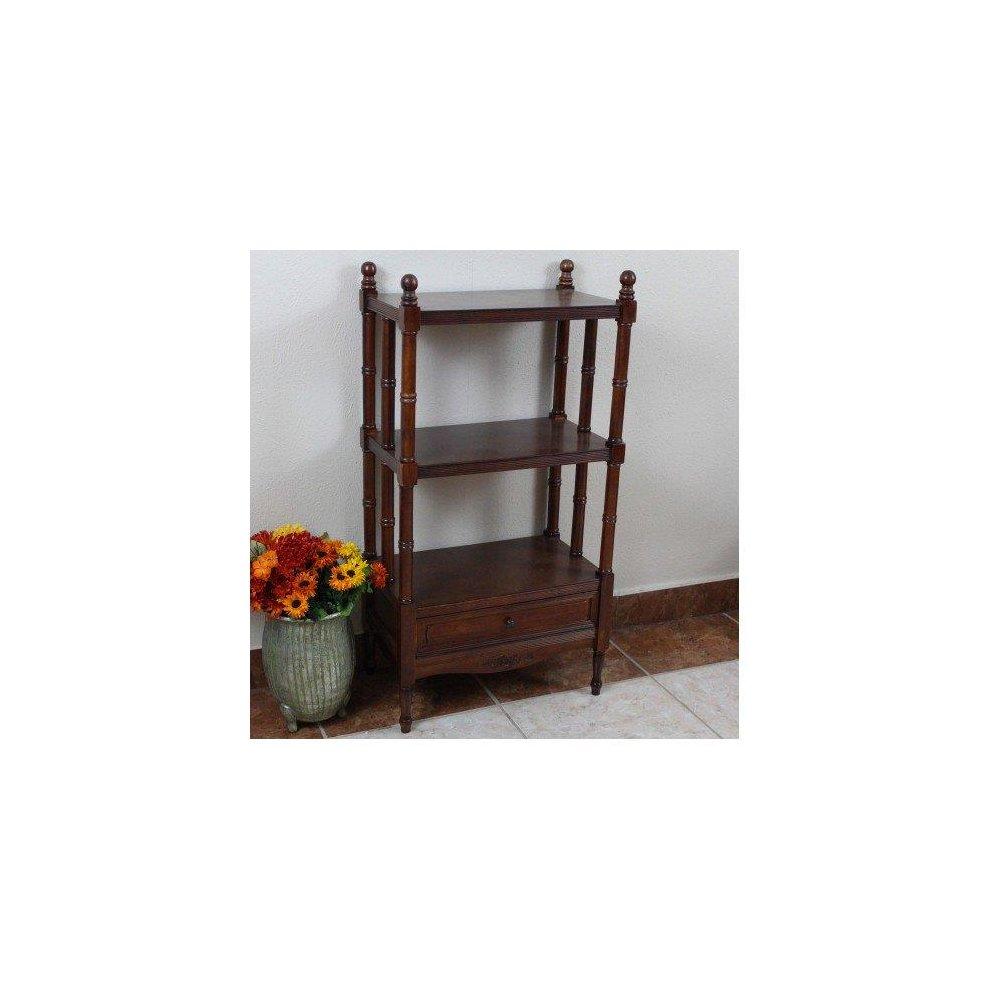 buy online 53ba1 04749 International Caravan ZM-3800-ST Carved Wood Windsor 3-Tier Bookshelf, Stain