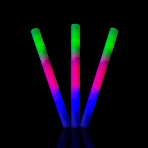 "Packs of 2 to 200 Premium 18"" Flashing LED Multi Coloured Glow in the Dark Foam Stick Perfect for Parties Concerts New Years Eve Party Rave Stick Events or Sensory Resource Children Adults Baton Light"