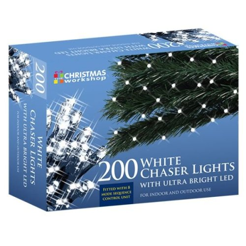 The Christmas Workshop Lights 200 Ultra Bright LED Xmas String Chaser Lights - White