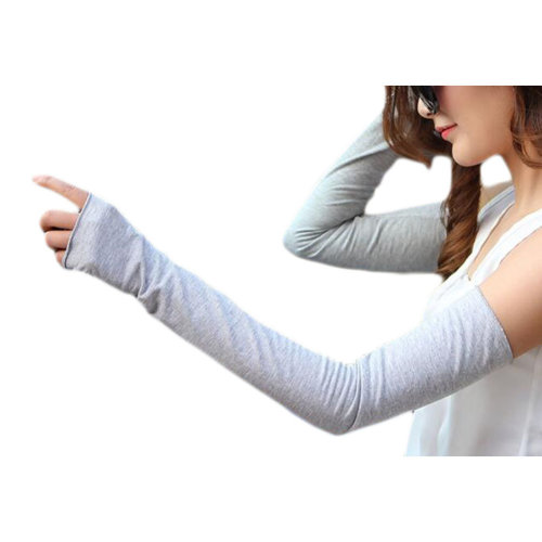 Cotton Outdoor Sunscreen Clothing Women Gloves Breathable Sun Protective Sleeves-Gray