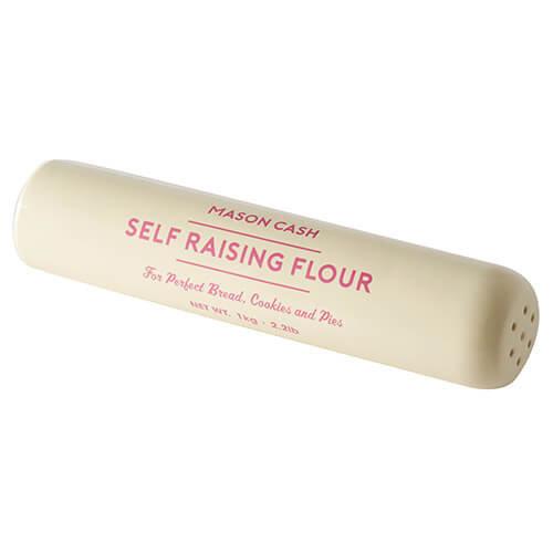 Mason Cash Baker's Authority Rolling Pin and Flour Shaker, Ceramic, Cream, 33 x 6.5 x 6.5 cm