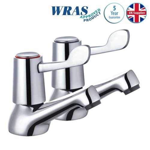 Bathroom Basin Lever Sink Taps Quarter Turn Easy Move Handles