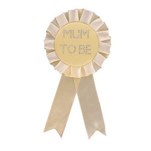 Alandra Mum To Be Rosette - Neutral Yellow - Baby Shower Badge Diamante -  mum rosette baby shower yellow badge diamante neutral
