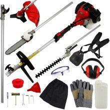 T-Mech 5-in-1 Petrol Garden Tool   Brush & Grass Cutter, Trimmer & Chainsaw