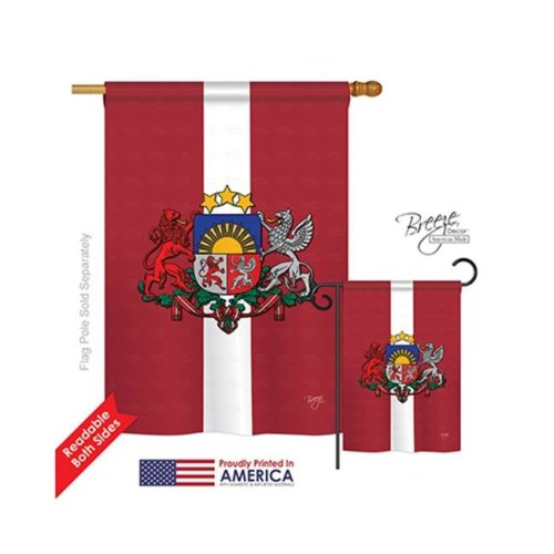 Breeze Decor 08201 Latvia 2-Sided Vertical Impression House Flag - 28 x 40 in.