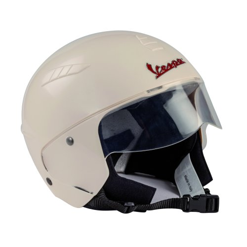 Peg Perego Vespa Casco Safety Size 55cm Made From Polystyrene With Fixed Transparent Visor and Soft Fabric Padding Colour White Ages 2 Years+