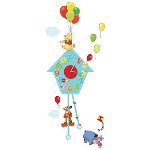 Winnie The Pooh Sticker Wall Clock Colourful Nursery Bedroom Eeyore Tigger