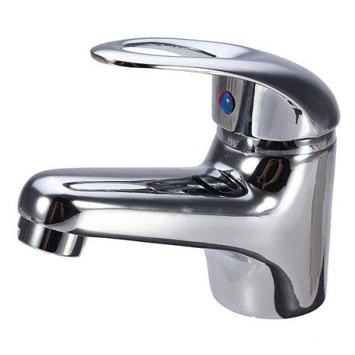 Chrome Bathroom Plated Brass Basin Sink Mixer Tap Faucet Spout Set