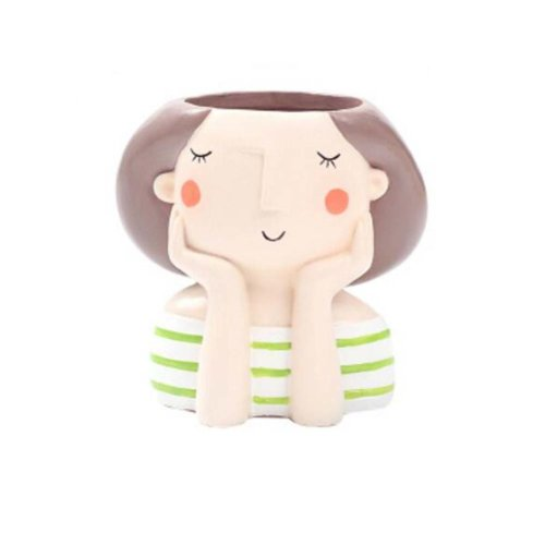 Individuality Girl Plant Pots Refreshing Style Garden Pots Plant Ornament, Green