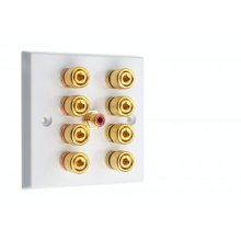 Complete Dolby 4.1 Surround Sound Speaker Wall Plate Rear- Solder Tabs
