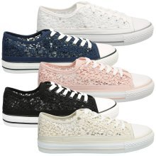 Sherilyn Womens Flat Lace Up Sequin Mesh Trainers