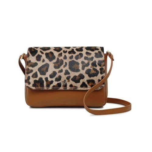 3fb40e318c Tula FAUX LEOPARD Collection Leather Animal Print Shoulder Bag 12677 Tan on  OnBuy