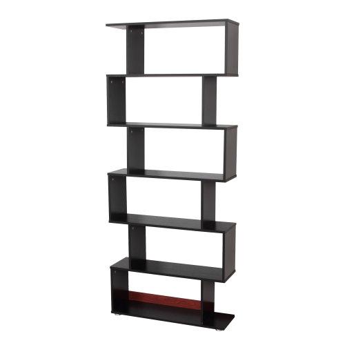 Homcom Black S-Shaped Bookcase | 6-Tier Room Divider Shelves