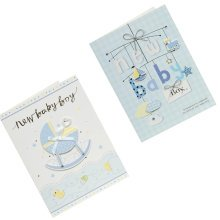 Lovely Baby Thank You Cards Baby Shower Set of 10 3D Cards,White&Blue