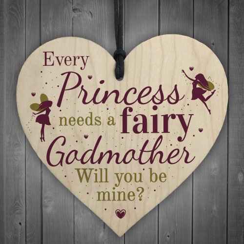 RED OCEAN Will You Be My Godmother Fairy Wooden Heart Sign Plaque Godparents Family Friendship Gift