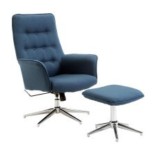 HOMCOM Office Chair W/Ottoman-Deep Blue