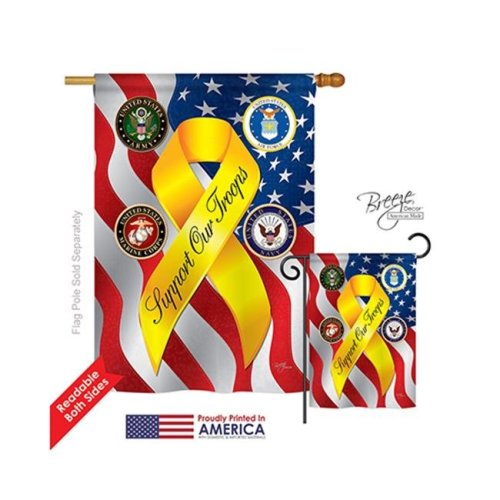 Breeze Decor 08060 Military Support Our Troops Freedom 2-Sided Vertical Impression House Flag - 28 x 40 in.