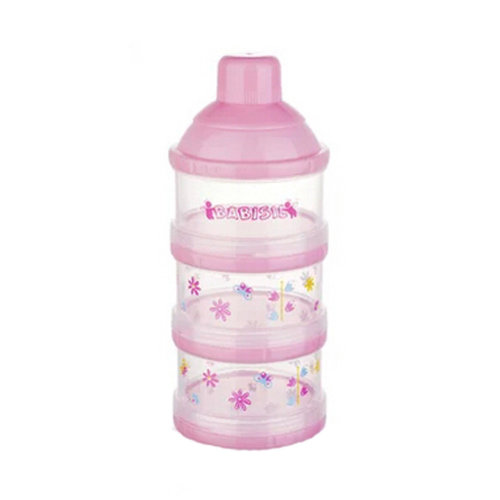 Baby Milk Powder Dispenser / Storage Container Three-Chamber Dispenser(pink)