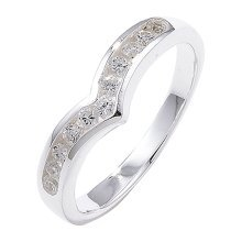 Sterling Silver Channel Set Wishbone Cubic Zirconia Ring - Size Q