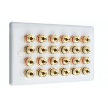 SlimLine White 12.0 2 Gang - 24 Binding Post Speaker Wall Plate - No Soldering Required