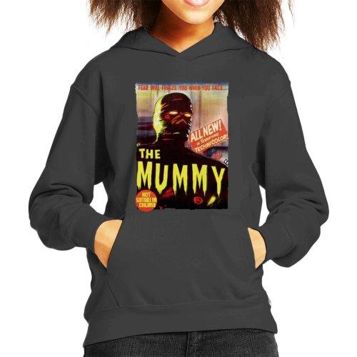 (Large (9-11 yrs), Charcoal) Hammer Horror Films Mummy Movie Poster Kid's Hooded Sweatshirt
