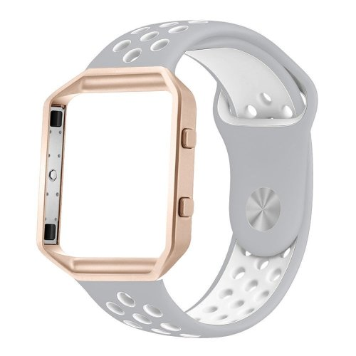 Fitbit Blaze Strap with Frame, Large Breathable Silicone Sport Replacement Wrist Strap with Rose Gold Metal Case for Smart Fitness Watch Women Men...