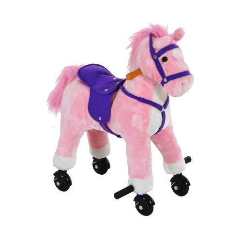 HOMCOM Wooden Action Pony Wheeled Walking Horse Riding Little Baby Plush Toy Wooden Style Ride on Animal Kids Gift w/ Sound (Pink)