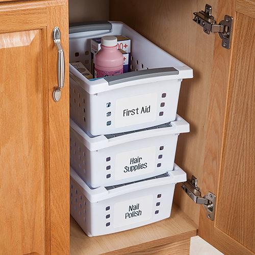 "Sterilite Small Stacking Storage Basket-12.5""X8.625""X5.375"" White"