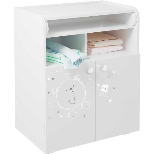 Kidsaw Kudl Kids Changing Board Cupboard with Storage Teddy Print White
