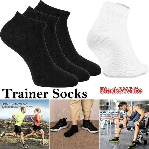 Black White Mens Womens Plain Trainer Socks