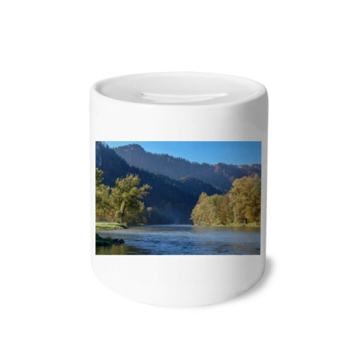 River Mountain Hill Forest Reflection Water Money Box Saving Banks Ceramic Coin Case Kids Adults