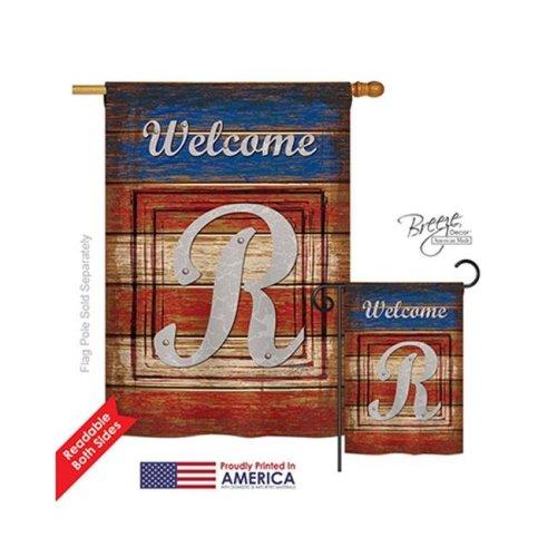 Breeze Decor 30122 Patriotic R Monogram 2-Sided Vertical Impression House Flag - 28 x 40 in.