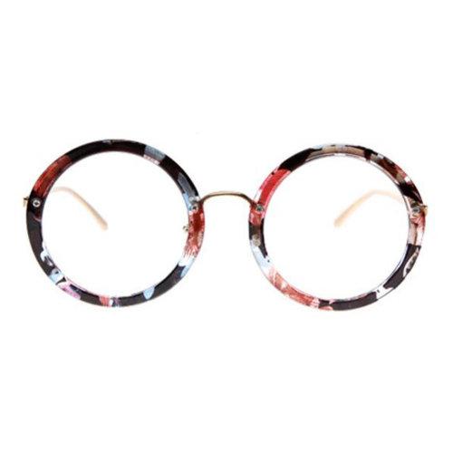 Retro Round Glasses Frames Fashion Flat Glasses -Floral