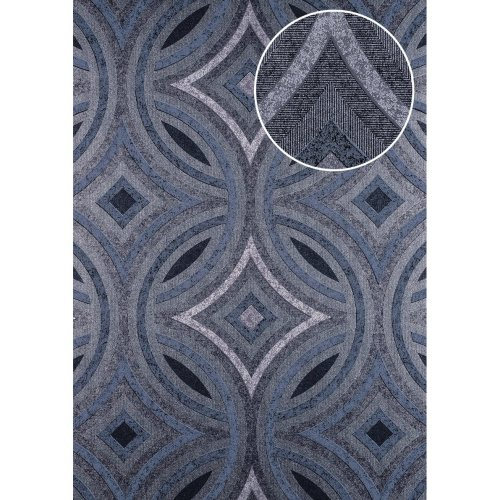 ATLAS HER-5135-2 Graphic wallpaper shimmering anthracite grey blue 7.035 sqm