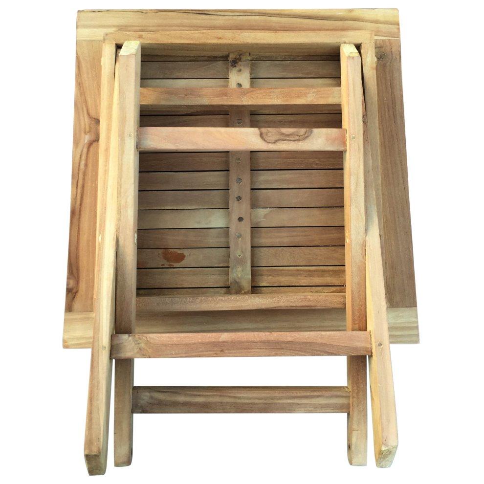 Square Teak Table Wooden Picnic Garden Patio Outdoor Coffee Tea BBQ Table 50cm