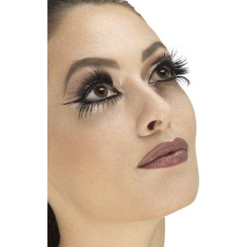 Black False Eyelashes -  black eyelashes top bottom wings ladies fancy dress fake long womens costume set adults accessory