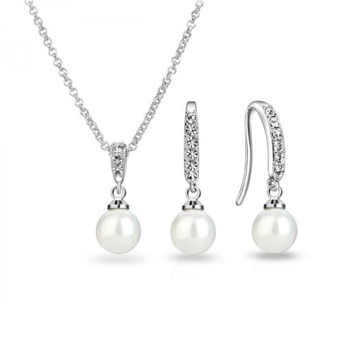 Silver Plated Pearl Drop Set Created with Swarovski Crystals