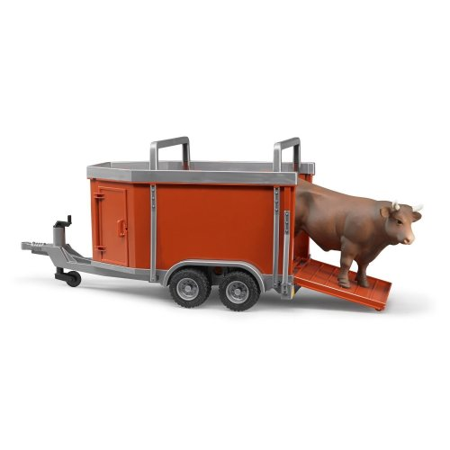 Bruder - Cattle Trailer with Cow or Bull 1:16