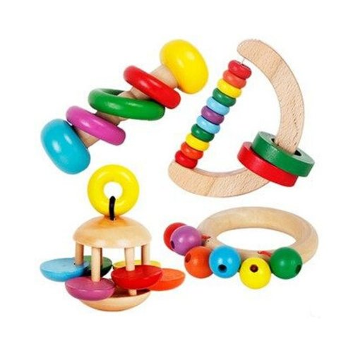 Lovely Colorful Kids Hand Grasping Wooden Bell Educational Handcraft Toy