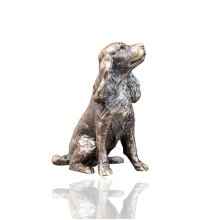 Bronze Spaniel Dog Sitting Figure - Butler & Peach - 2077.