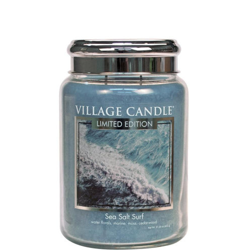 Village Candle 26oz Scented American Large Jar Candle with Double Wick Sea Salt Surf