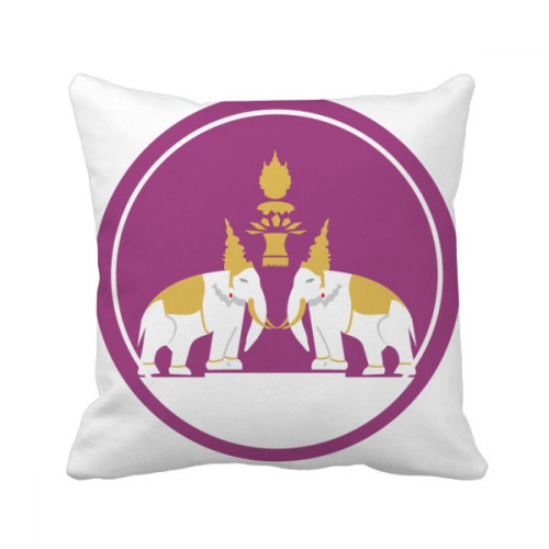 Thailand Made in Thailand Two Elephant Shield Throw Pillow Square Cover