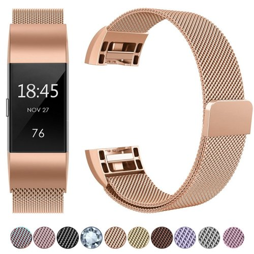 HUMENN For Fitbit Charge 2 Strap Bands Replacement Large, Rose Gold