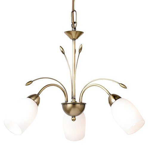 Traditional Brass 3 Arm Ceiling Light With Opal Glass - Dual Mount