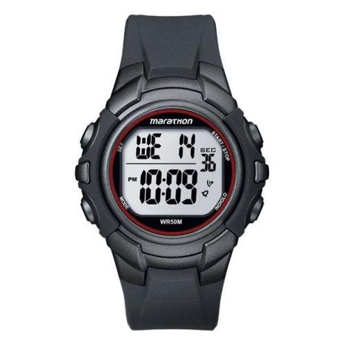 Timex 6518021 Marathon Sports Watch Men Round Digital Resin Water Resistant - Gray & Red