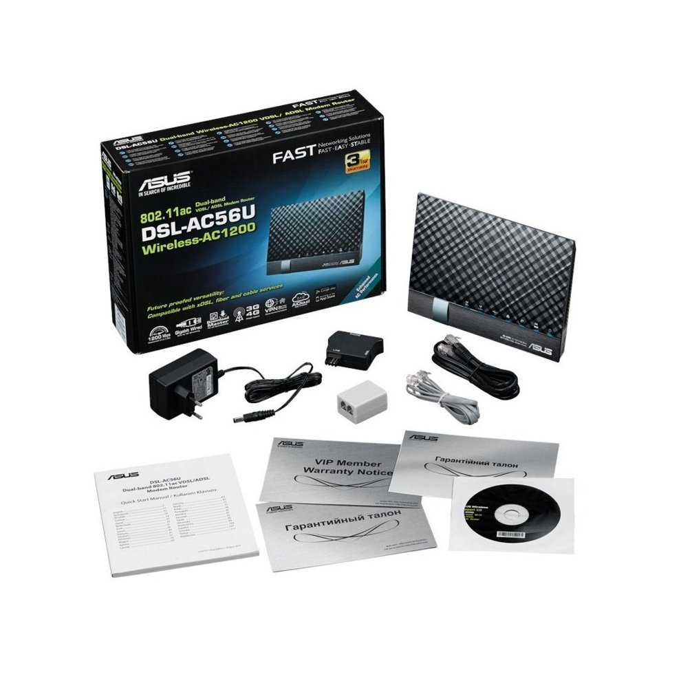 Asus Dsl-ac56u Dual-band (2 4 Ghz / 5 Ghz) Gigabit Ethernet 3g Black  Wireless Router