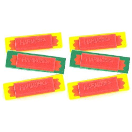 6 Mini Plastic Harmonicas